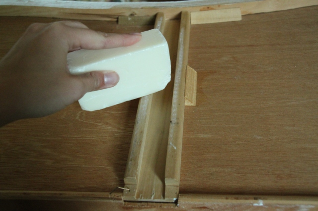 Soaping the dresser runners