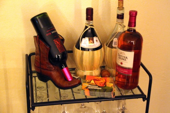 Boot wine holder.